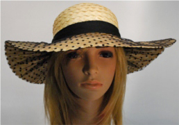 KN Greta straw hat with veil brim