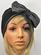 Merino wool beanie with bow, grey/black