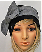 Bow Beanie Black-Grey