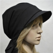 Black scarf hat with visor