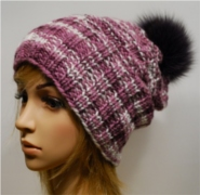 Knitted Hat with fox fur