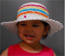 Fiebig girls summer hat with color stripes